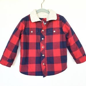 GAP Red Buffalo plaid Sherpa lined jacket